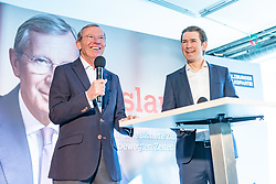 19.04.2018, Getreidegasse, Salzburg, AUT, Landtagswahl in Salzburg 2018, OeVP Wahlkampfschlussveranstaltung, im Bild v. l.: Wilfried Haslauer (OeVP), Bundeskanzler Sebastian Kurz (OeVP) // Wilfried Haslauer (OeVP), Austrian Federal Chancellor Sebastian Kurz during a campaign event of the OeVP Party for the State election in Salzburg 2018. Getreidegasse in Salzburg, Austria on 2018/04/19. EXPA Pictures © 2018, PhotoCredit: EXPA/ JFK