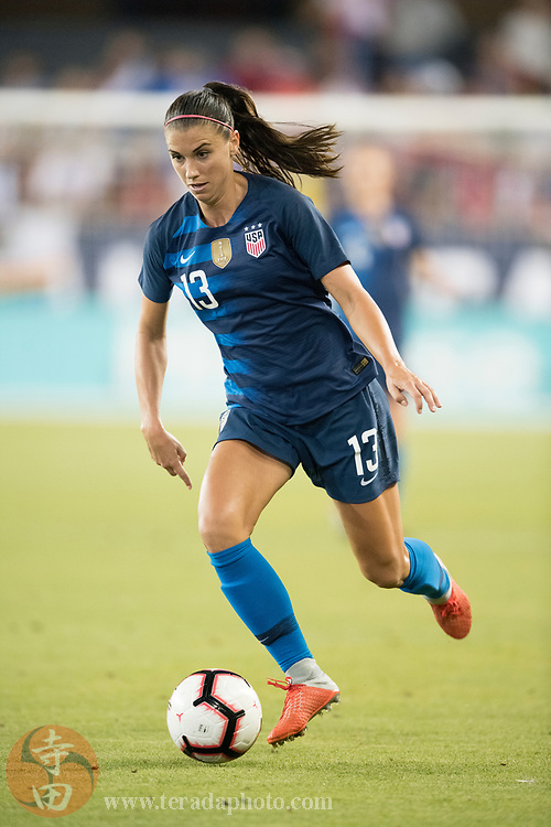 September 4, 2018; San Jose, CA, USA; Team USA forward Alex Morgan (13) during the second half in an international friendly soccer match against Chile at Avaya Stadium. Team USA defeated Chile 4-0.