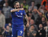 Football - 2018/ 2019 Premier League - Chelsea vs Burnley<br /> <br /> Gonzalo Higuain of Chelsea celebrates his goal  at Stamford Bridge<br /> <br /> Colorsport  / Andrew Cowie