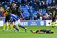 Football - 2019 / 2020 Sky Bet (EFL) Championship - Cardiff City vs. Brentford<br /> <br /> \q33\ celebrates scoring his team's first goal as Brentdord look dejected , at The Cardiff City Stadium.<br /> <br /> COLORSPORT/WINSTON BYNORTH