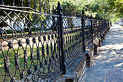 Historic wrought iron fence along Wragg Square in the Harleston Village section of Charleston, South Carolina. (photo by Charleston SC photographer Richard Ellis)