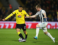 Watford's Etienne Capoue tussles with WBA's James Brunt during the Premier League match at Vicarage Road Stadium, London. Picture date: April 4th, 2017. Pic credit should read: David Klein/Sportimage