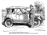 "PC. ""You were doing forty miles an hour, sir."" Motorist (whispering). ""Make it seventy; I'm trying to sell him the thing."""