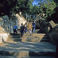 Asia, Nepal, Kathmandu. 365 steps to entrance of Swayambhunath Stupa, the Monkey Temple in Kathmandu.