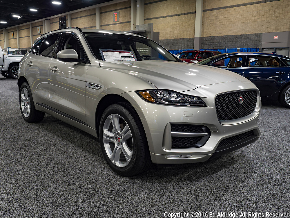 CHARLOTTE, NC, USA - NOVEMBER 17, 2016: Jaguar F-Pace on display during the 2016 Charlotte International Auto Show at the Charlotte Convention Center in downtown Charlotte.