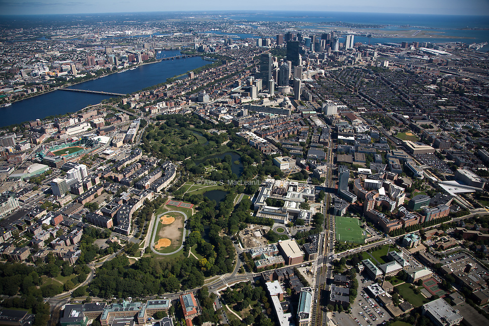 Back Bay Fens with the Museum of Fine Arts and Northeastern Universty along Huntington Ave.