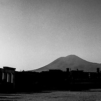 Sunset over Mt Vesuvius in Pompei