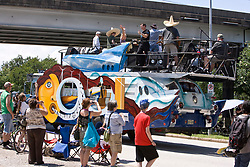"""Stock photo of the Houston Art Car Parade 2012 - """"The Tom Kennedy's Space Bus"""" - Artist: Larry White, Adam Adams, Monica Acuna, and more"""