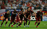 Photo: Glyn Thomas.<br />England v Portugal. Quarter Finals, FIFA World Cup 2006. 01/07/2006.<br /> Portugal's players celebrate Cristiano Ronaldo's winning penalty.