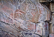 "Complex pictograph with petroglyohs, estimated to be 2000 - 3000 years old in the Columbia River Gorge National Scenic Area, Washington. Native people who live in the area refer to the creators of the rock art in the Columbia River area as the ""River People"". Much of the original rock art in the area has been flooded by hydro projects or vandalized, but there remain some prinstine examples in out of the way areas."