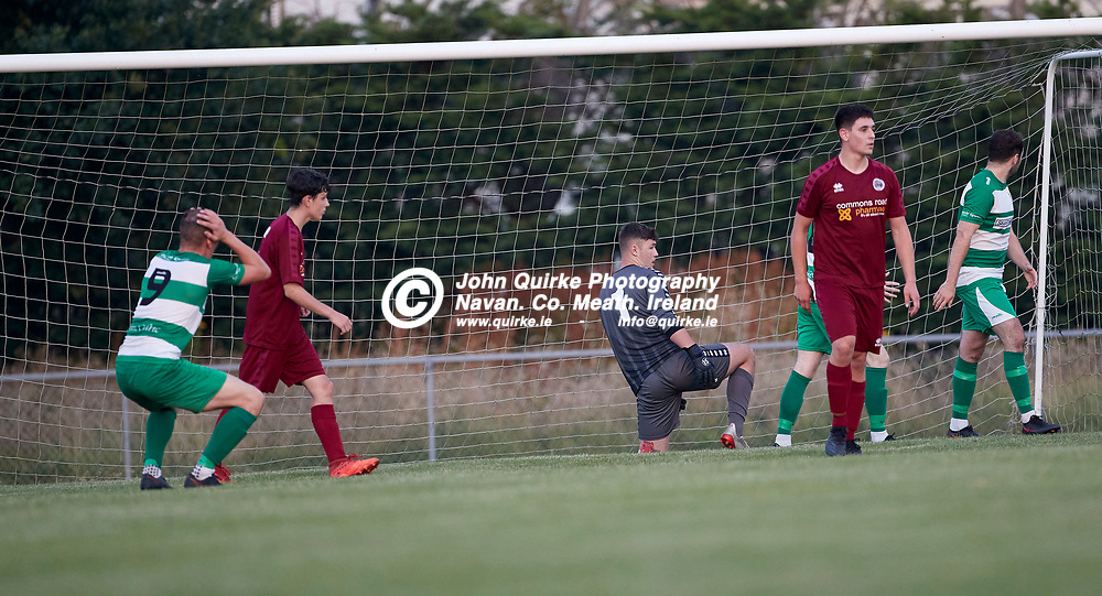 23-07-21, Premier Soccer at Claremont Stadium<br /> Parkvilla v Trim Celtic<br /> Trim Celtic`s Aaron Williams holds his head after a near miss in the goalmouth<br /> Photo: David Mullen / www.quirke.ie ©John Quirke Photography, Proudstown Road Navan. Co. Meath. 046-9079044 / 087-2579454.<br /> ISO: 2000; Shutter: 1/1250; Aperture: 4.5;
