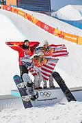 Chloe Kim, USA, with Jiayu Liu, China and Arielle Gold, USA, wins the womens halfpipe final at the Pyeongchang Winter Olympics on 13th February 2018 at Phoenix Snow Park, South Korea