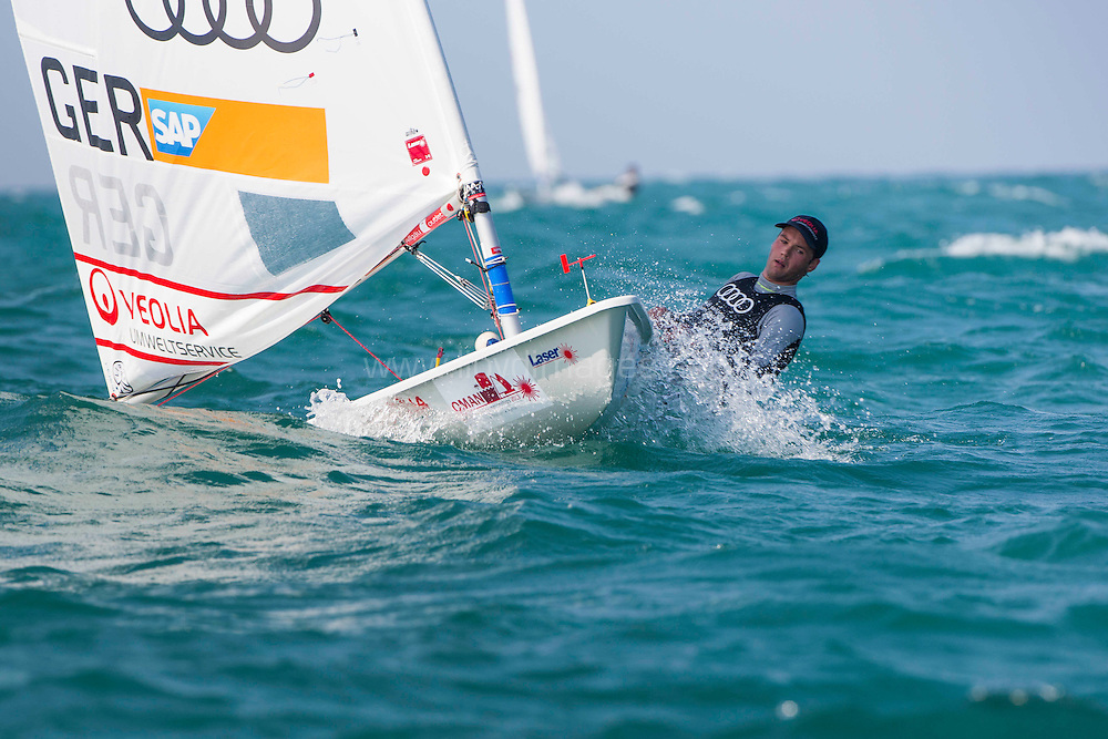 Laser World Championships 2013. Mussanah. Oman. Day 1 of racing close to the Mussanah shore. Philipp Buhl (GER)<br /> Credit: Lloyd Images