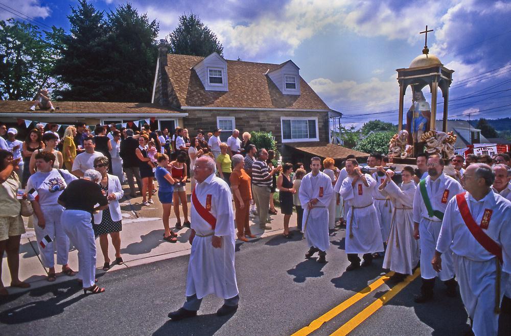 San Roco Festival, street parade carrying patron saint Aliquippa, PA