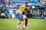 Neymar of Brazil and Hector Herrera of Mexico during the 2018 FIFA World Cup Russia, round of 16 football match between Brazil and Mexico on July 2, 2018 at Samara Arena in Samara, Russia - Photo Thiago Bernardes / FramePhoto / ProSportsImages / DPPI