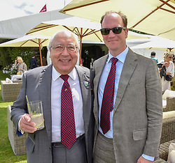 Urs Schwarzenbach and his son Guy Schwarzenbach at the Cartier Queen's Cup Polo 2019 held at Guards Polo Club, Windsor, Berkshire. UK 16 June 2019. <br /> <br /> Photo by Dominic O'Neill/Desmond O'Neill Features Ltd.  +44(0)7092 235465  www.donfeatures.com