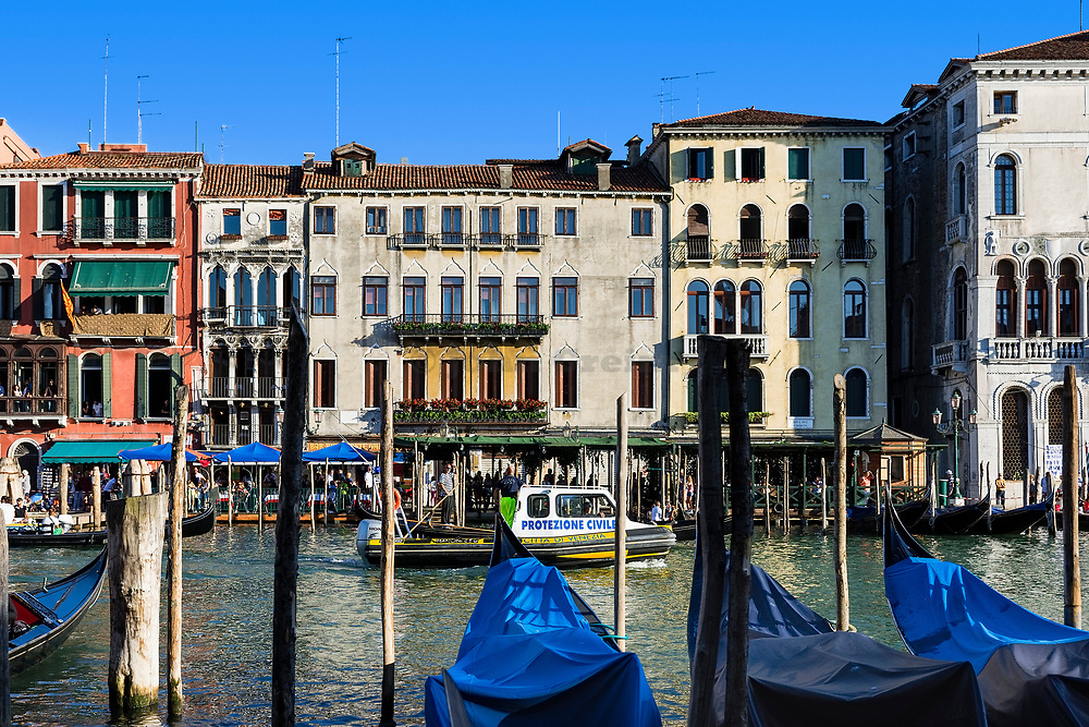 Police boat patrols the Grand Canal, Venice, Italy