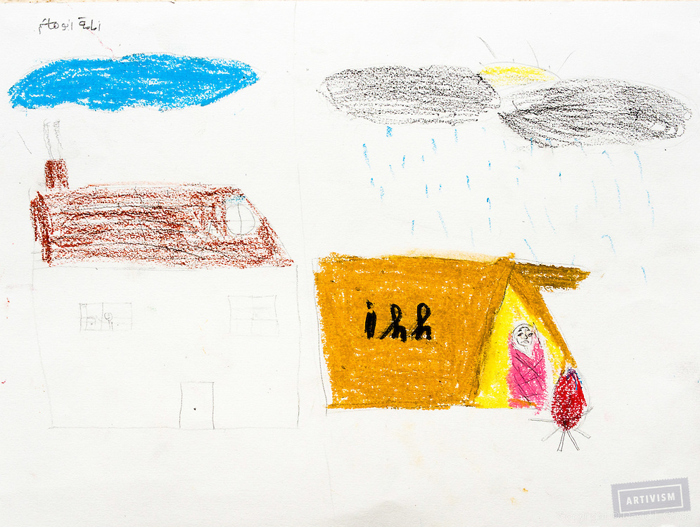 """""""A before and after scene. Before there is a blue sky, house, happiness. After, people are living in camps (ihh), freezing while it rains."""" Drawing by Syrian girl, age 13. (Topic for this session: dealing with loss.)"""