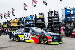 October 5, 2018 - Dover, DE, U.S. - DOVER, DE - OCTOBER 05: Alex Bowman driver of the #88 Axalta Chevrolet rolls through the garage area during practice for the Monster Energy NASCAR Cup Series Gander Outdoors 400 on October 05, 2018, at Dover International Speedway in Dover, DE. (Photo by David Hahn/Icon Sportswire) (Credit Image: © David Hahn/Icon SMI via ZUMA Press)