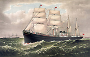 National Line's SS Egypt under sail and steam, flying Red Ensign. Launched at Liverpool, England, 1871, one of her routes was Liverpool/New York. Currier & Ives print c1879. Transport Shipping Merchant  Transitional Liner