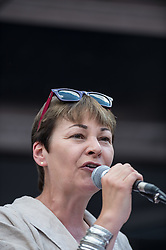 Caroline Lucas MP, Green Party, People's Assembly demonstration against Austerity, London, 21st June 2014