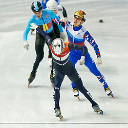 Short tracker Itzhak de Laat in action during the 500 meter semifinals during ISU European Short Track Speed Skating Championships 2020 on January 25, 2020 in Fonix Hall, Debrecen, Hungary