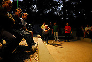 An evening game of Buce (Bocce).<br /> Makarska, Croatia