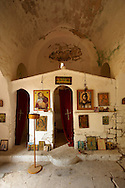 Interior of Ayios Ioannis, Paliachora,  Aegina, Greek Saronic Islands .<br /> <br /> If you prefer to buy from our ALAMY PHOTO LIBRARY  Collection visit : https://www.alamy.com/portfolio/paul-williams-funkystock/aegina-greece.html <br /> <br /> Visit our GREECE PHOTO COLLECTIONS for more photos to download or buy as wall art prints https://funkystock.photoshelter.com/gallery-collection/Pictures-Images-of-Greece-Photos-of-Greek-Historic-Landmark-Sites/C0000w6e8OkknEb8