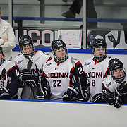 The UConn bench watch the action during the UConn Vs Boston University, Women's Ice Hockey game at Mark Edward Freitas Ice Forum, Storrs, Connecticut, USA. 5th December 2015. Photo Tim Clayton
