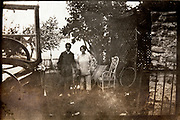 posing with car and dog rural outdoors France 1920s