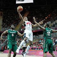 02 August 2012: USA Russell Westbrooks goes for the layup during 156-73 Team USA victory over Team Nigeria, during the men's basketball preliminary, at the Basketball Arena, in London, Great Britain.