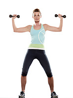 woman doing workout on white isolated background