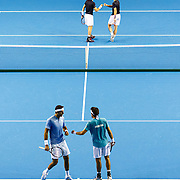Andy Murray (2L) and Jamie Murray (R) of Britain in action against Juan Martin del Potro (L) and Leonardo Mayer (2R) of Argentina during the Tennis Davis Cup semi final between Britain and Argentina in Glasgow, Scotland, Britain, 17 September 2016. EPA/ROBERT PERRY