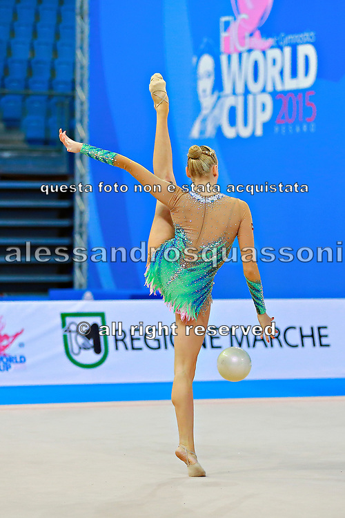 Ruprecht Nicol during qualifying at ball in Pesaro World Cup at Adriatic Arena on April 10, 2015. Nicol born on October 2, 1992 in Innsbruck. She is a rhythmic gymnast member of the Austria National Team.