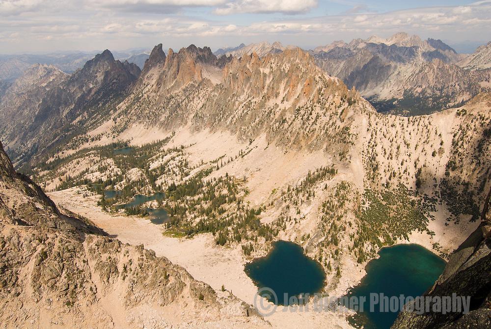 The Warbonnet Lakes sit below the Verita Ridge in the Sawtooth Mountains, Idaho.