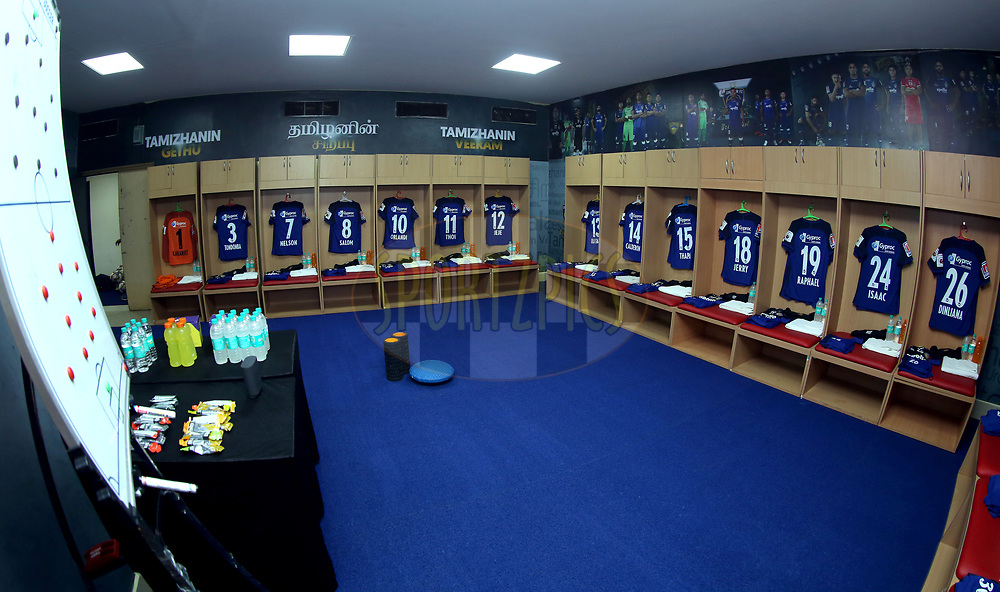 Chennaiyin FC dressing room  before the start of the match 27 of the Hero Indian Super League 2018 ( ISL ) between Chennaiyin FC  and Mumbai City FC  held at the Jawaharlal Nehru Stadium, Chennai, India on the 3rd November 2018<br /> <br /> Photo by: Sandeep Shetty /SPORTZPICS for ISL