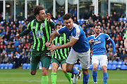 AFC Wimbledon midfielder Chris Whelpdale (11) and Peterborough United defender Andrew Hughes (3) tussle during the EFL Sky Bet League 1 match between Peterborough United and AFC Wimbledon at ABAX Stadium, London Road, Peterborough, England on 22 October 2016. Photo by Stuart Butcher.