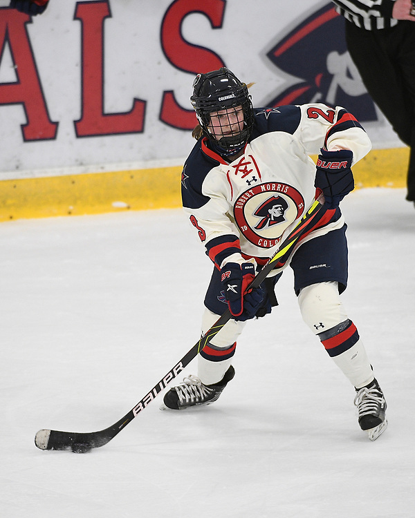 PITTSBURGH, PA - FEBRUARY 09: Ellie Marcovsky #23 of the Robert Morris Colonials skates with the puck in the first period during the game against the Mercyhurst Lakers at Clearview Arena on February 09, 2021 in Pittsburgh, Pennsylvania. (Photo by Justin Berl/Robert Morris Athletics)