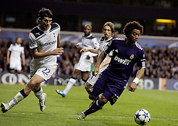 13.04.2011, White Hart Lane, London, ENG, UEFA CL, Tottenham Hotspur vs Real Madrid, im Bild Real Madrid's Marcelo (third-captain) and Tottenham's Vedran Corluka   during the match between Tottenham and Real Madridv  as second leg of the QOF of the Uefa Champions League  at White Hart Lane in London  on 13/04/2011. EXPA Pictures © 2011, PhotoCredit: EXPA/ IPS/ Marcello Pozzetti +++++ ATTENTION - OUT OF ENGLAND/UK and FRANCE/FR +++++