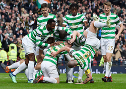 Celtic's Scott Brown falls over during the celebration after Celtic's Tomas Rogic scored the opening goal during the William Hill Scottish Cup semi final match at Hampden Park, Glasgow.
