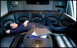 Leader of the Conservative Party David Cameron asleep on his campaign coach while on his way to a  Community meeting at Stockton Sixth Form College, Sunday April 25, 2010. Photo By Andrew Parsons / i-Images.
