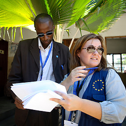 Dar Es Salaam, Tanzania 30 October 2010.European Union Observer Elayne Cutajar visits a polling station of Dar Es Salaam..The European Union has launched an Election Observation Mission in Tanzania to monitor the general elections, responding to the Tanzanian government invitation to send observers for all aspects of the electoral process..The EU sent this observation mission led by Chief Observer David Martin, a member of the European Parliament. .PHOTO: European Union