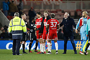 Patrick Bamford of Middlesbrough claims the match ball after his hat trick during the EFL Sky Bet Championship match between Middlesbrough and Leeds United at the Riverside Stadium, Middlesbrough, England on 2 March 2018. Picture by Paul Thompson.