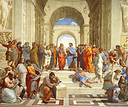 The School of Athens' , 1511 (detail). Fresco. Raphael (Rafael Sanzio 1483 -1520) Italian painter and architect.  Plato and Aristotle (centre) in discussion.   Ancient Greek Philosophy Science Learning