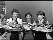 """The National Fish Cookery Award""..29.04.1982..04.29.1982.29th April 1982.1982..This competition sponsored by Bord Iascaigh Mhara was held in The Clare Inn, Newmarket-on Fergus,Co Clare. the competition was open to schools across the country..The proud prize winners (L-R).Martha Browne (3rd),Catherine O'Sullivan (1st) and Miriam Henshaw (2nd) display their award winning dishes."