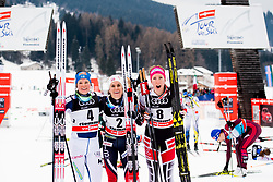 January 6, 2018 - Val Di Fiemme, ITALY - 180106 Krista Parmakoski of Finland, Heidi Weng of Norway and Teresa Stadlober of Austria celebrate after women's 10km mass start classic technique during Tour de Ski on January 6, 2018 in Val di Fiemme..Photo: Jon Olav Nesvold / BILDBYRN / kod JE / 160122 (Credit Image: © Jon Olav Nesvold/Bildbyran via ZUMA Wire)