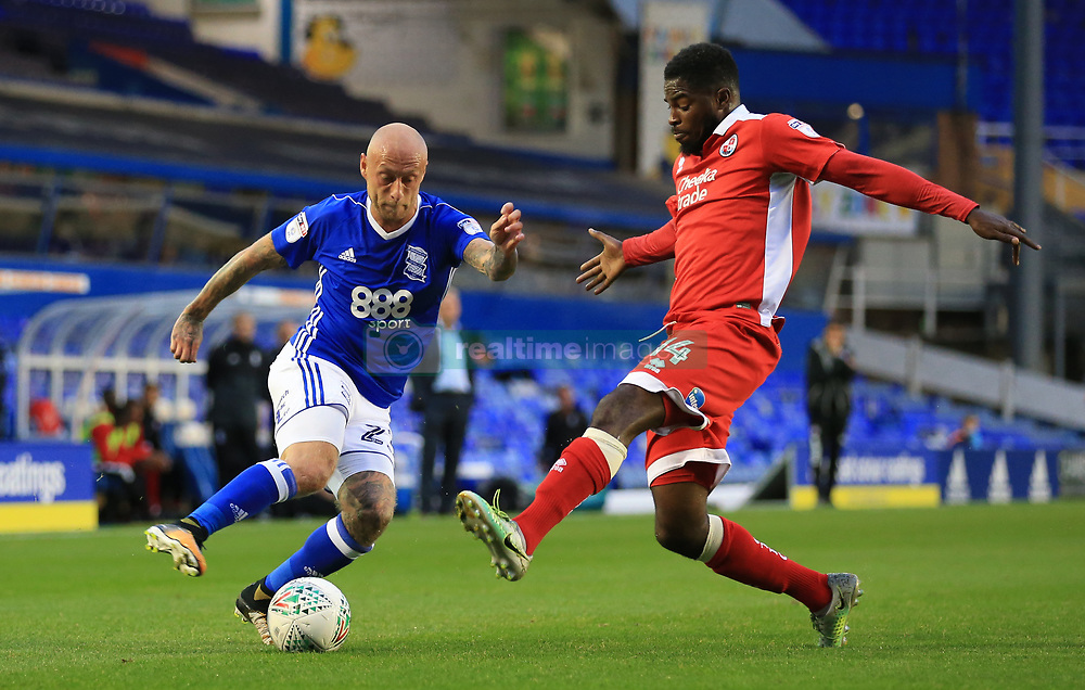 Birmingham City's David Cotterill (left) and Crawley Town's Andre Blackman battle for the ball
