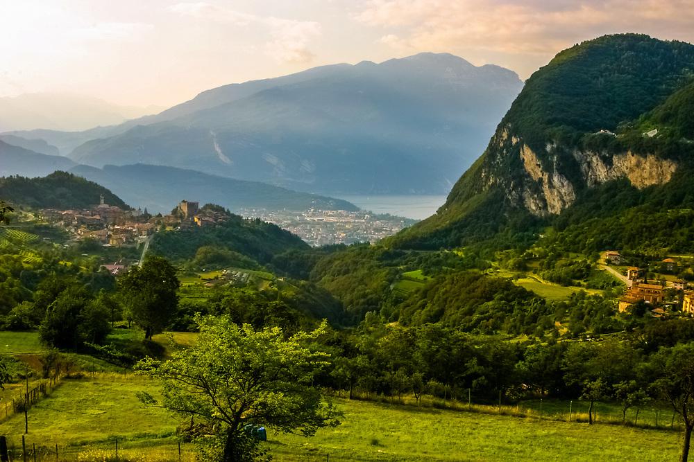 Tenno village, Riva del Garda and Garda Lake in Italy.