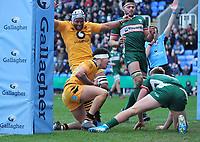 Rugby Union - 2019 / 2020 Gallagher Premiership - London Irish vs. Wasps<br /> <br /> Jacob Umaga of Wasps celebrates his try, with Nizaam Carr at Madejski Stadium.<br /> <br /> COLORSPORT/ANDREW COWIE