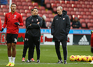 Sheffield United First Team Strength and Conditioning Coach Lee Rickards and Alan Knill assistant manager of Sheffield Utd during the English League One match at Bramall Lane Stadium, Sheffield. Picture date: December 31st, 2016. Pic Simon Bellis/Sportimage